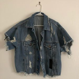 Carmar denim distressed cropped jacket
